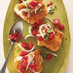 Panko-Crusted Cod with Tomato-Basil Relish | MyRecipes.com #myplate #protein #bacalao