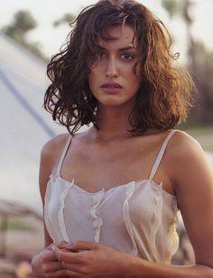 "Mirabella May 1994 ""Sweltering Sky"" Model: Yasmeen Ghauri Hair: Collin Booker Makeup: Lisa Forster"