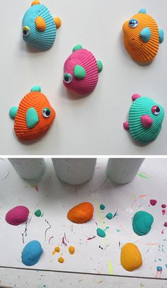 Tropical Seashell Fish Craft. Fish are cute too. Combine the fish, turtle and crab seashell crafts to make a cute picture