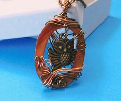 Owl Gift Necklace Jewelry, Copper Wire Wrapped Mother of Pearl and Owl Pendant Necklace