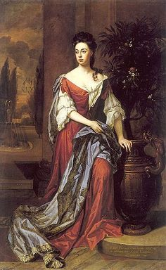Dorothy Mason, Lady Brownlow in fashionable undress. Her dress is casually unfastened at the breast, and her chemise sleeves are caught up in puffs, probably with drawstrings.