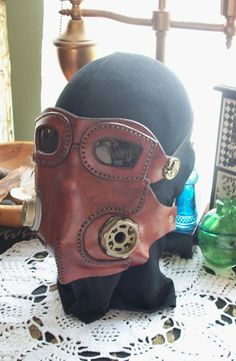 Steampunk Leather Gas Mask Breather Caps Aether Brown Cosplay Airship Pirate