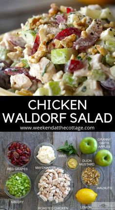 Moist tender cubes or chicken, tart Granny Smith apples, sweet grapes, celery and walnuts tossed in a light creamy dressing. CHICKEN WALDORF SALAD is perfect for a light lunch, dinner or brunch Best Salad Recipes, Chicken Salad Recipes, Salad Chicken, Roasted Chicken, Recipe Chicken, Waldorf Chicken Salad, Chicken Salad Healthy, Whole30 Chicken Salad, Summer Salad Recipes