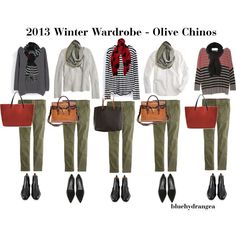 """Winter Wardrobe - Olive Chinos"" by bluehydrangea on Polyvore  similar pairings with black skirt, rust jeans, skinny jeans and different scarves with the 2013 winter wardrobe capsule"