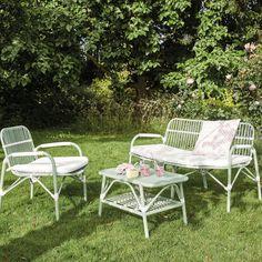Salon de jardin table en résine tressée arrondie 5 places Romini ...