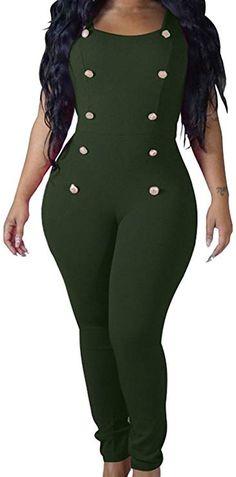 7edfba35ea82 Happy Cool Women s Jumpsuits Elegant Button Long Leg Legging Jumpsuits  Romper