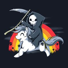 Riding on a pony can even make Death cheerful! Get the Death is Magic t-shirt only at TeeTurtle!