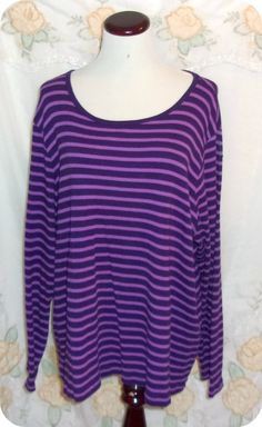 St John's Bay Womens Top Plus Size 3X Purple Striped Long Sleeve Cotton #StJohnsBay #KnitTop #CareerCasual #Fashion #Clothing #Womens #Plussize #Top #Size3X