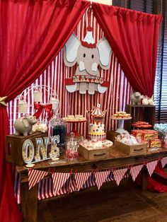 Check out this amazing Vintage Circus Birthday Party The dessert table and backdrop are fantastic See more party ideas and share yours at Carnival Baby Showers, Circus Carnival Party, Circus Theme Party, Carnival Birthday Parties, First Birthday Parties, Circus Party Decorations, Birthday Party Table Decorations, Themed Parties, Dumbo Birthday Party
