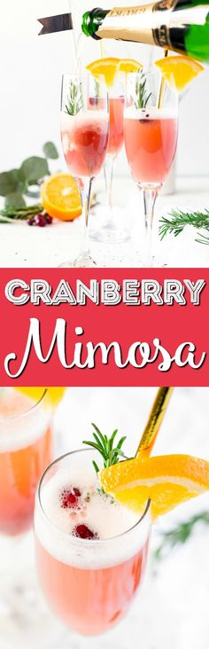 This Cranberry Orange Mimosa is the perfect cocktail for winter brunch! Made with cranberry and orange juice and champagne it's a fruity drink that you can serve up for Christmas or New Year's Eve or any other weekend celebration! via @sugarandsoulco