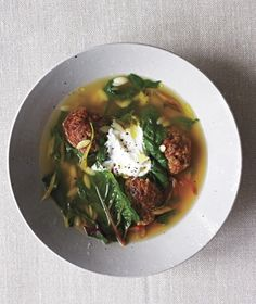 These easy meatballs, made with paprika and cumin, lend a rich flavor to store-bought stock. Get the recipe for Spiced Lamb Meatball and Swiss Chard Stew.