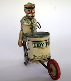 Tidy Tim Tin Litho Wind Up Toy Circa 1933 | Keep Your City Spic and Span Says Tidy Tim the Clean Up Man.
