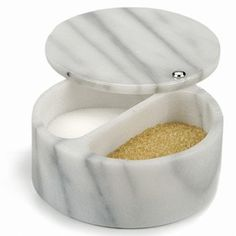 R.S.V.P. Swivel Top Salt Box, White Marble