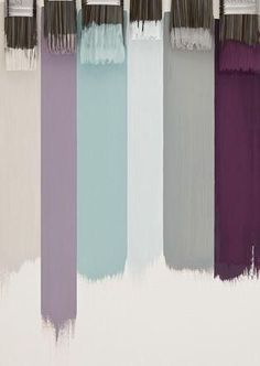 light lavender on bath walls, light grey on bedroom and closet walls, dark grey and purple bedding curtains and towels