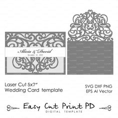 """Flourish Scroll Wedding invitation Swirls Pattern Card 5x7"""" Template (svg, dxf…"""