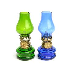 Vintage Miniature Oil Lanterns in Cobalt Blue & Green: Retro kitsch color pop for home decor or collectible mini shelf accent! Available from OneRustyNail on Etsy. ► http://www.etsy.com/shop/OneRustyNail