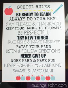 Free Printable School Rules Poster
