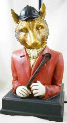 $125 Foxhunter Fox Desk/Table Lamp Equestrian Foxhunt Equine Hunt Country