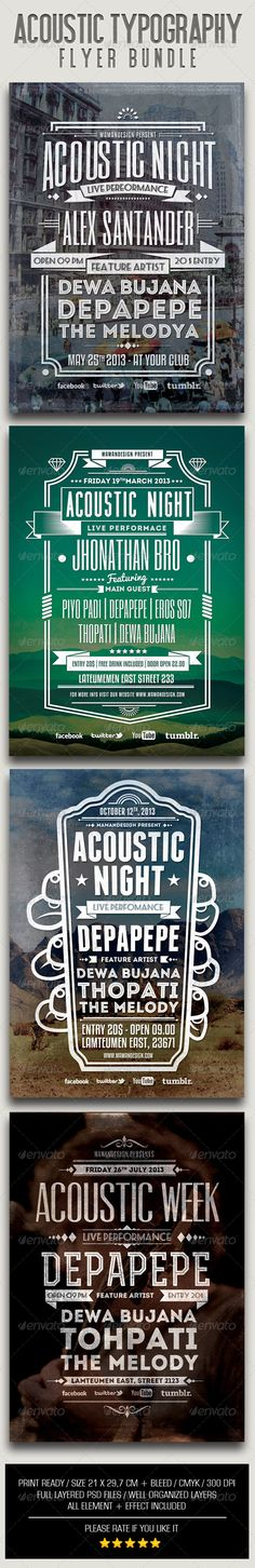 Acoustic Typography Bundle — Photoshop PSD #concert #vintage • Available here → https://graphicriver.net/item/acoustic-typography-bundle/6449250?ref=pxcr
