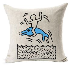 Keith Haring's Graffiti-art Blue Dolphin Printing Style Cotton Linen Throw Pillow Case Cushion Cover Sofa Car Home Office Decorative Square 18 X 18 Inches