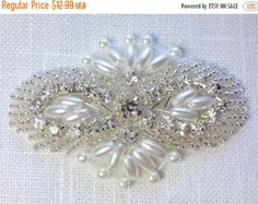 50% OFF Rhinestone and pearl applique crystal by DIYBrideBoutique