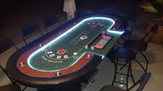 Electric portable LED casino tables. indoors, outdoors these tables light up anywhere with its own portable power supply. Book these LED Deluxe casino tables first & be the first one on your block.