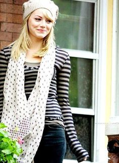 I love her knit beanie and her infinity scarf and her striped shirt! It's adorable