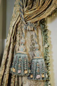 Antiquarian curtain tie backs Tassel Curtains, Home Curtains, Velvet Curtains, Luxury Curtains, Curtain Ties, Curtain Tie Backs Tassels, Drapery Tie Backs, Window Coverings, Window Treatments