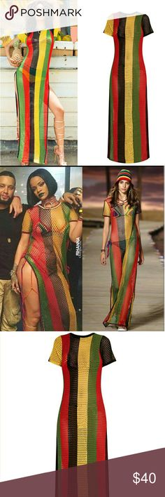 Rasta Colors of Africa side split knitted maxi Just like the one Worn by Rihanna One size Fits s-xl Dresses Maxi