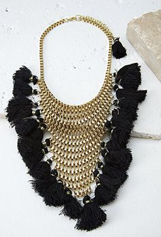 Stacked Chain Tassel Statement Necklace | Forever 21 - 1000054452