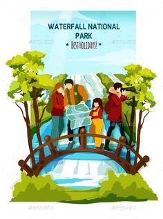 Waterfall Landscape Poster