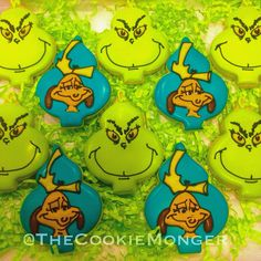 Christmas Cookies--The Grinch and Max @TheCookieMonger For ordering info email thecookiemonger@outlook.com