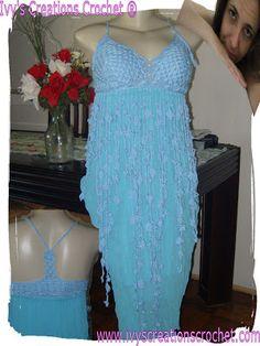 Crochê Tricô: Vestido Azul