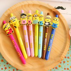 Korea Office Supplies Gel Ink 0.5mm kawaii cute cartoon yellow man black water-based pen creative caneta material escolar