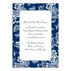 Chinoiserie Navy Large Flat Invitation by Boatman Geller