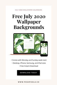 Free Downloadable July 2020 Wallpaper Calendars - Posh Pixels Co Calendar Wallpaper, Desktop Calendar, Free Desktop Wallpaper, Wallpaper Backgrounds, July Calendar, Calendar 2020, Wallpaper Designs, Designer Wallpaper