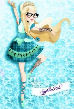 Hi I'm Sapphire Eve Ride. I'm a daughter of one of the twelve dancing princesses and a royal. I have brown and white speckled wings that I usually hide and I love to dance. I'm new here so I don't have a dorm mate. I think that's all bye