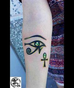Exotic Tattoos, Dope Tattoos, Arrow Tattoos, Body Art Tattoos, Nefertiti Tattoo, Ankh Tattoo, Egypt Tattoo, Eye Of Ra Tattoo, Egyptian Eye Tattoos