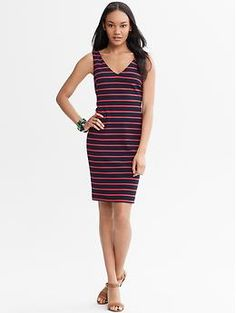 Thin Stripe Ponte Dress--I actually think this is cuter in real life.  I like the shoes they put with it.