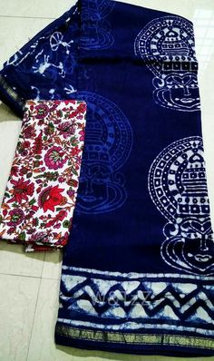 Chanderi silk sarees handblock dabu prints with indigo colour Kalamkari face prints Combo Kalamkari or bagru blouses Order what's app 7995736811