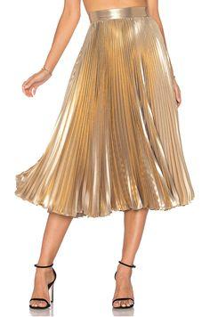 Frankie - Pleated Skirt in Light Gold
