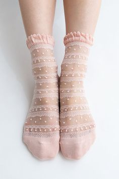 Women New Hezwagarcia Japan Edition Silk Rayon Nylon Beautiful Ruffle Frill Lace Mesh Sheer Sheen Elegant Ankle Socks Stocking in Blush