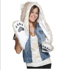 Furry spirit animal hoodie like new Super cute snow leopard animal hoodie, worn only 1 time for new years event and now no longer need it! Like brand new! Has fluffy fur on the outside and white fleece lining on the inside. On left arm of the hoodie has a inner zipper to hold your items, and also pockets on the ends of the long arms to keep your hands warm! :) Accessories Hats