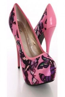 Pink Multi Satin Fabric Butterfly Print Closed Toe Heels