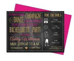 Chalkboard Bachelorette Invites with Envelopes Drink Champagne and Dance on the Tables. Click through to find matching games, favors, thank you cards, inserts, decor, and more. Or shop our 1000+ designs for all of life's journeys. Weddings, birthdays, new babies, anniversaries, and more. Only at Aesthetic Journeys