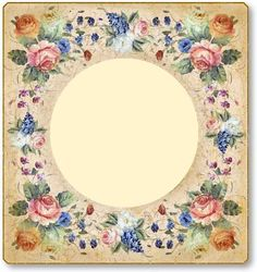Photo Frame Crafts, Flower Backgrounds, Flower Frame, Vintage Postcards, Frames, Scrap, Miniatures, Printable, Graphics