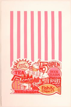 Zoe Murphy 'You are here' art screen print. Seaside signs and candy colours.