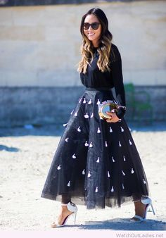 Big black skirt with lovely applications