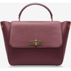Bally B TURN SMALL Women's small leather top handle bag in Dark Red (1'750 CHF) ❤ liked on Polyvore featuring bags, handbags, bally handbags, dark red handbag, dark red purse, red bags and leather top handle bag