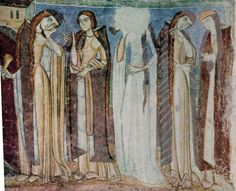 """Fresco with """"Foolish Virgins"""" in the the Burg Hocheppan in South Tyrol, end of 12th-beginning of 13th century"""